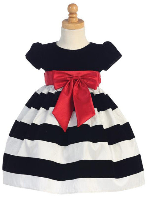Girls Black Velvet and Flocked White Taffeta Holiday Dress
