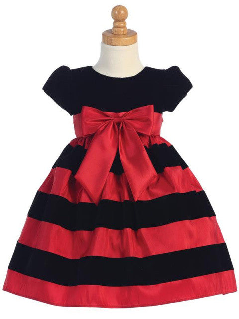 Girls Black Velvet and Flocked Red Taffeta Holiday Dress