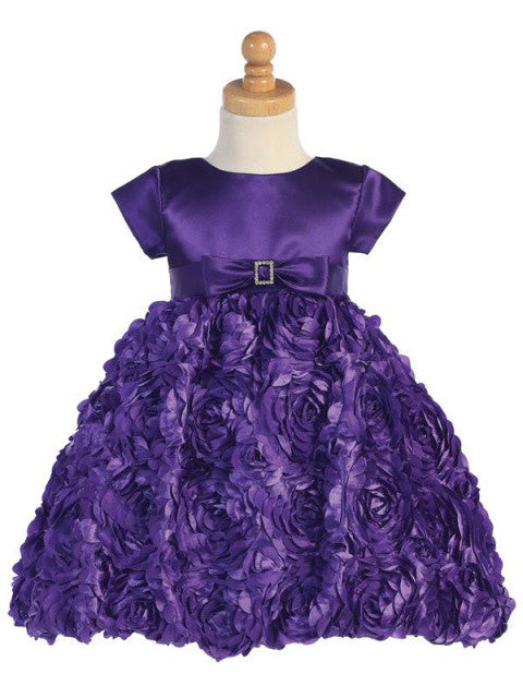 Purple Satin Dress with Satin Ribbon Floral Skirt