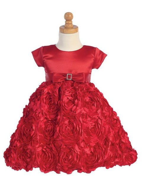 Red Satin Holiday Dress with Ribbon Floral Skirt
