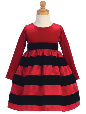 Girls Black Stretch Velvet with Flocked Red Taffeta Holiday Dress