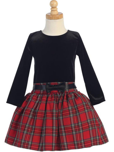Girls Black Velvet Holiday Dress with Red and Black Plaid Skirt