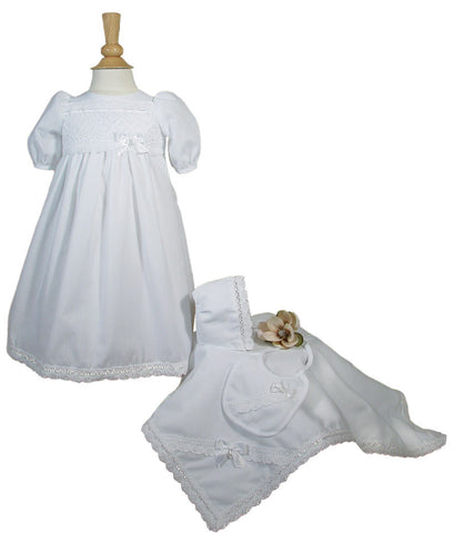 Girls Preemie Dress Christening Gown Baptism Set with Lace Hem  LTML-CA25PR
