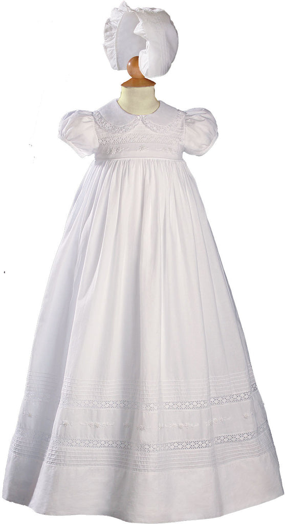 Girls 33 inch White Cotton Short Sleeve Christening Baptism Gown with Floral Hand Embroidery  LTML-CA55GS