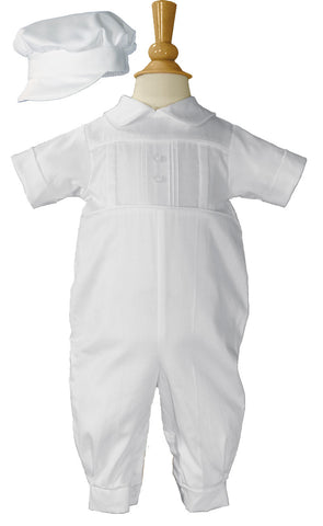 Boys Cotton Sateen Short Sleeve Christening Baptism Coverall with Pleated Front and Hat  LTML-CB1451
