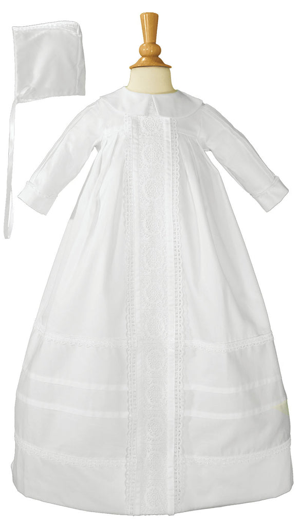 Little Things Mean A Lot Cotton Sateen Bishops Christening Baptism Gown and Bonnet 03 Month