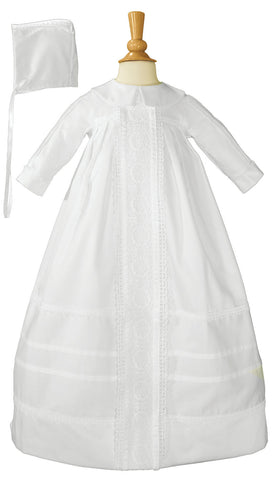 Cotton Sateen Bishop's Christening Baptism Gown and Bonnet  LTML-CB420G