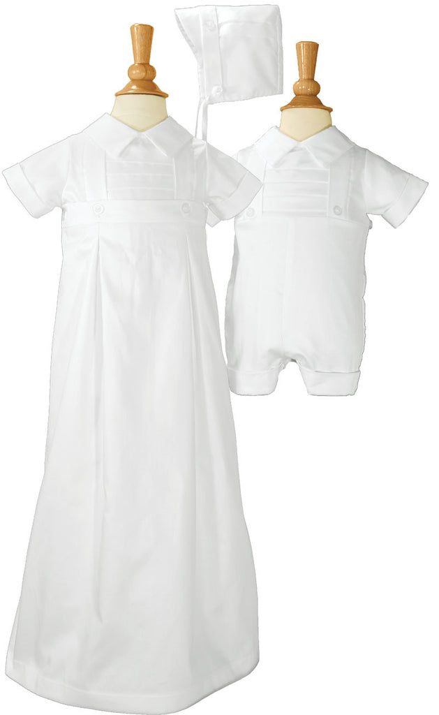 Boys 100% Cotton Convertible Christening Baptism Set with Hat  LTML-CB425G