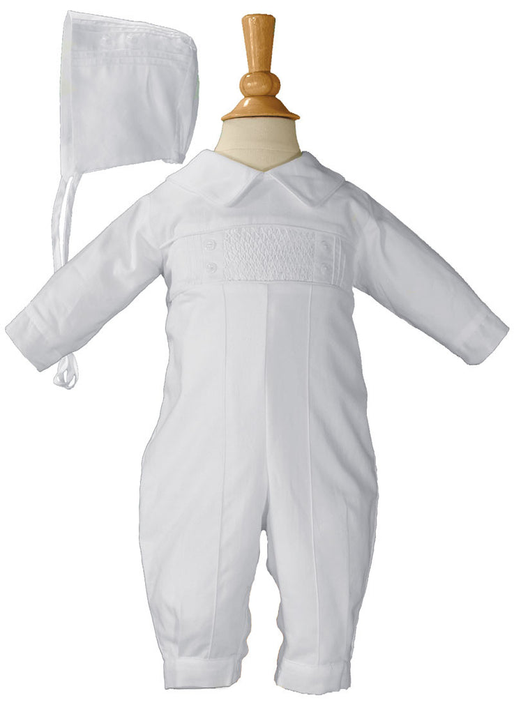 Boys Long Sleeve Cotton Hand Smocked Pin Tucked Christening Baptism Coverall  LTML-CB9381
