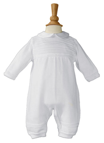Boys Cotton Knit White Christening Baptism Coverall  LTML-CKNIT1
