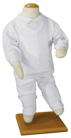 Boys 100% Cotton Knit Two Piece White Christening Baptism Outfit  LTML-CKNIT2