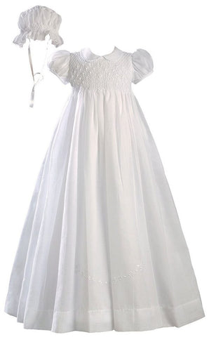 Girls White 32 inch Hand Smocked Polycotton Batiste Christening Baptism Gown  LTML-CO06GS