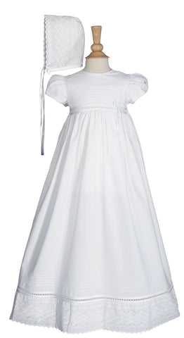 Girls 30 inch White Cotton Dress Christening Gown Baptism Gown with Lace  LTML-CO26GS