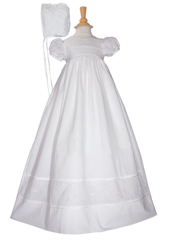 Girls 34 inch Cotton Dress Christening Gown Baptism Gown with Hand Embroidery  LTML-CO28GS