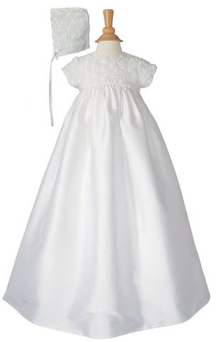 Girls 32 inch Cotton Sateen Christening Gown with Rosette Covered Bodice  LTML-CS56GS