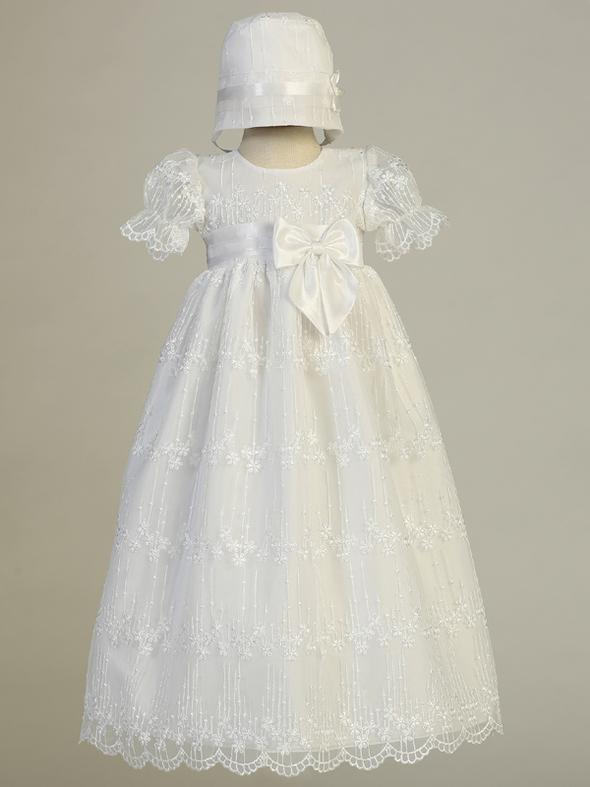 Camila Embroidered Tulle Baptism Gown and Bonnet