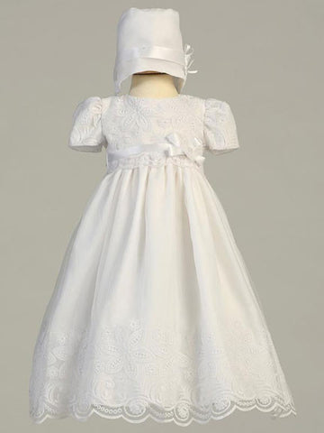 Candice Floral Embroidered Organza Christening Gown