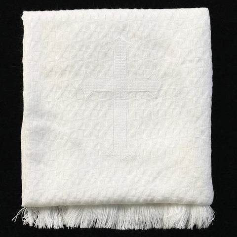 Christening Blanket with Embroidered Cross (textured)