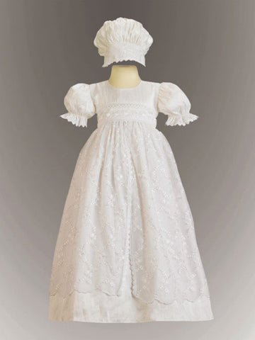 Christine Silk and Embroidered Tulle Christening Gown