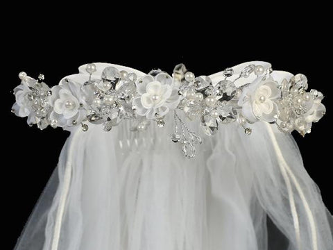 Crystal and Organza Flower First Communion Veil T-409