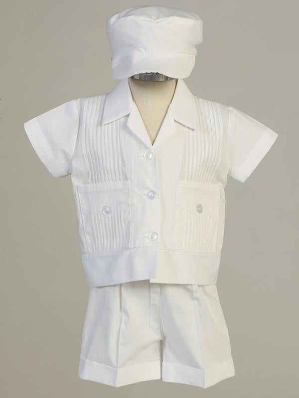 Daniel Boys Pintuck Cotton Christening Shirt & Shorts