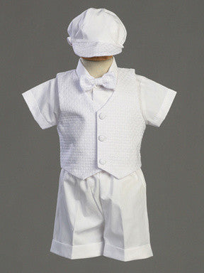 Dexter Boys Christening Short Set with Basketweave Vest