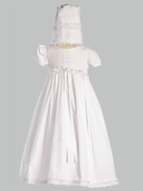 Diana Cotton Smocked Gown with Bonnet