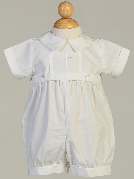 Dominic Cotton Romper with Cross and Detachable Gown