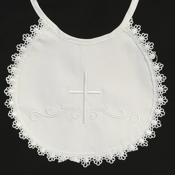 Embroidered Cotton Christening Bib with Lace Trim BB-2