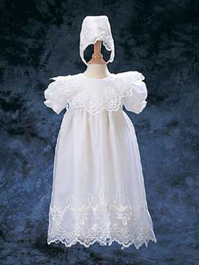 Embroidered Organza Christening Baptism Gown & Matching Bonnet