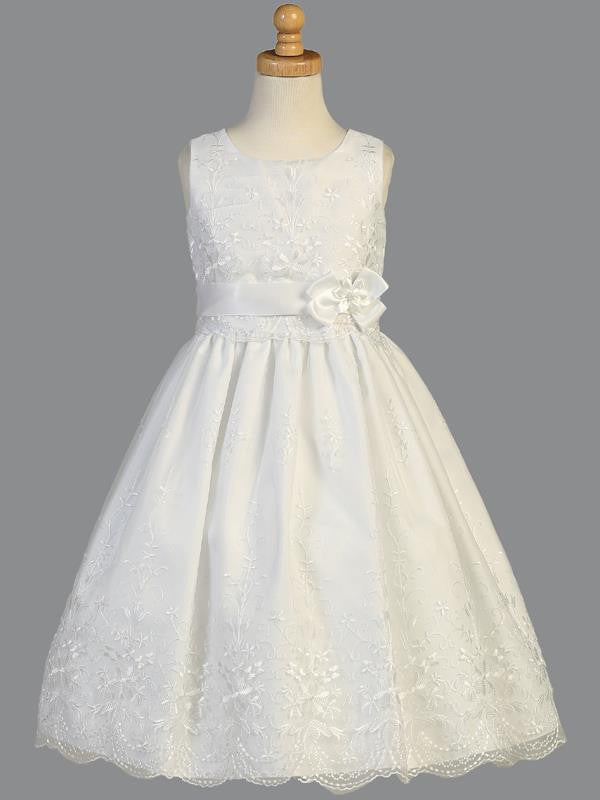 Embroidered Organza First Communion Dress with Ribbon - SP110