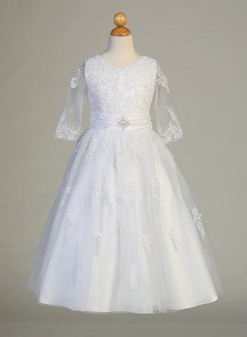 Embroidered Tulle Communion Dress with Sheer Sleeves – SP621