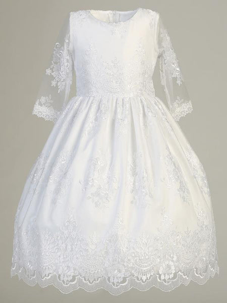 Embroidered Tulle First Communion Dress with Three Quarter Sleeves - SP139