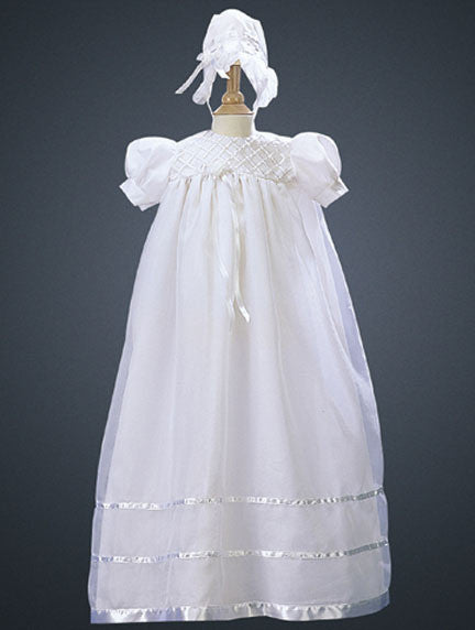 Embroidered Organza Baptismal Gown with Satin Trim