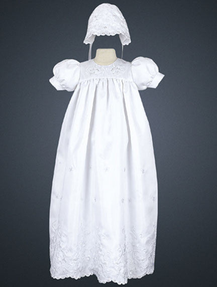 Embroidered Shantung Baptismal Gown and Bonnet
