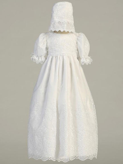 Emily Embroidered Organza Christening Gown