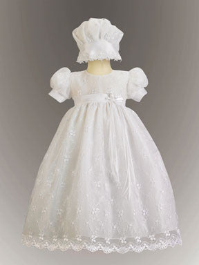 Emma Embroidered Tulle Christening Gown