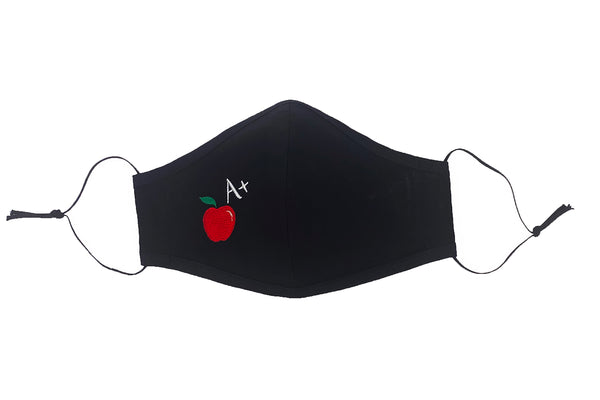 Teachers Cotton Face Mask with Embroidered Apple