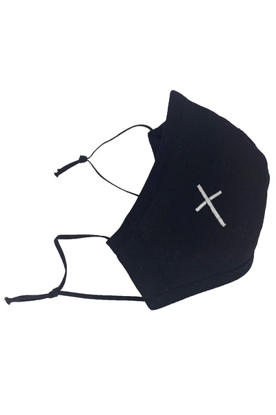 Black Cotton Face Mask w/ White Embroidered Cross - Adult
