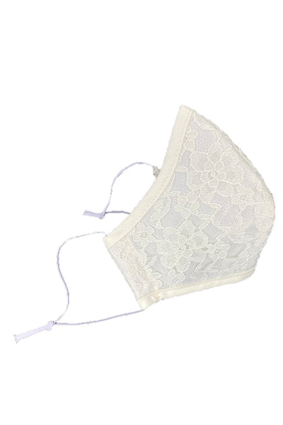 Ivory Cotton Face Mask with Ivory Lace Overlay