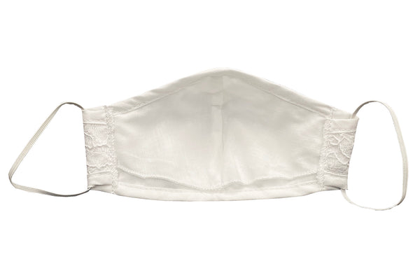 White Cotton Face Mask with Lace Overlay - Adult & Kids