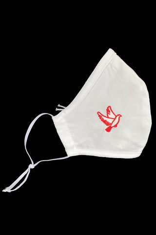 White Confirmation Cotton Face Mask w/ Red Dove - Adult