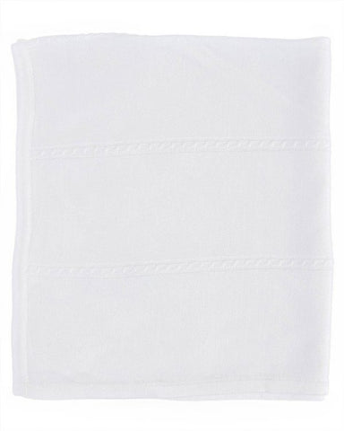 Fancy White Christening Blanket with Cable Knit Pattern - LTMAL-BK5406