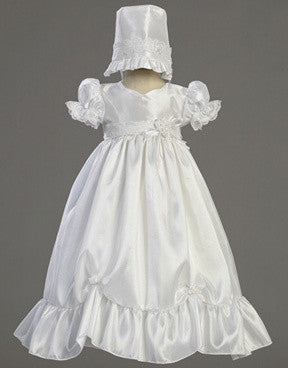 Farrah Taffeta Christening Gown with Lace Accent