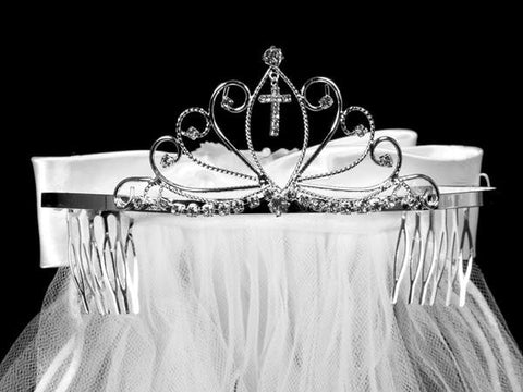 First Communion Tiara with Veil and Bow T-19