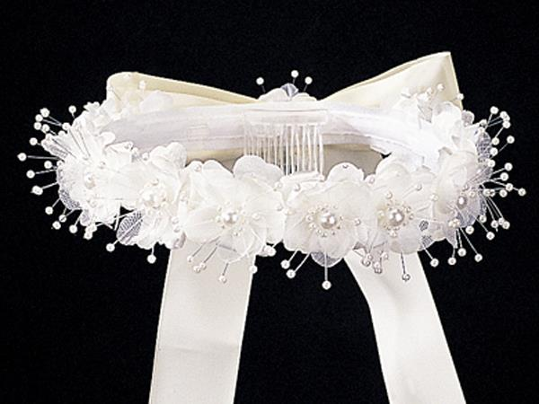 Flower & Pearl Headpiece with Bow - T-3 - ivory