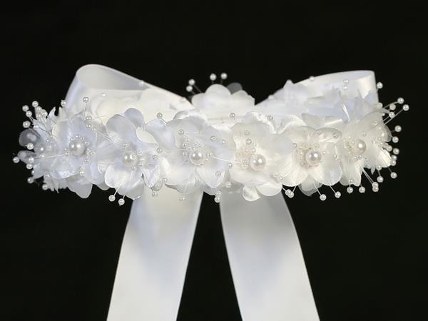 Flower & Pearl Headpiece with Bow - T-3