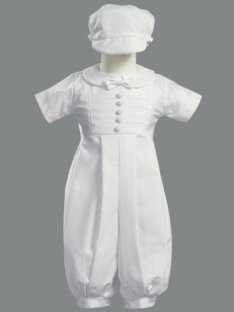 Gabriel Poly Cotton Long Romper Christening Set with Hat