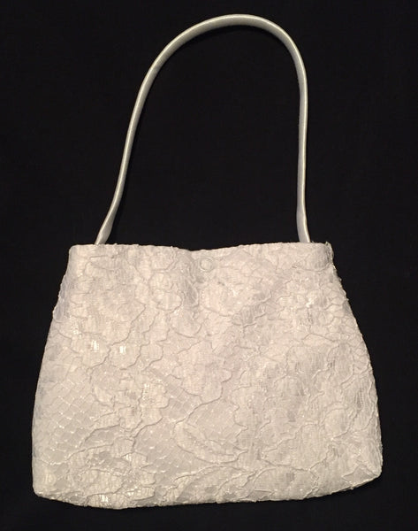 Girls White Lace Purse with Silver Flowers - LT-CP25