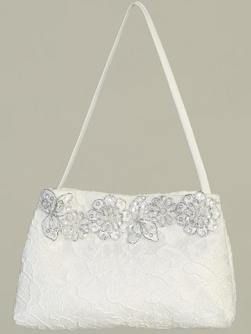 Girls White Lace Purse with Silver Flowers - LT-CP25 - front